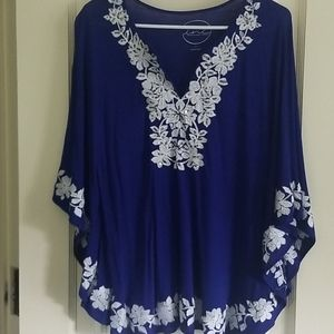 I.N.C royal blue cape sleeve top w/embroidery L